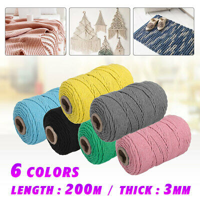 200m 3 mm Natural Cotton Rope Cord String Twisted Beige Craft Macrame Weaving AU
