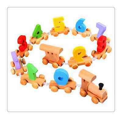 A New Wooden Digital Train Set Railway Kid EarlyCounting 0-9 Number Learning Toy