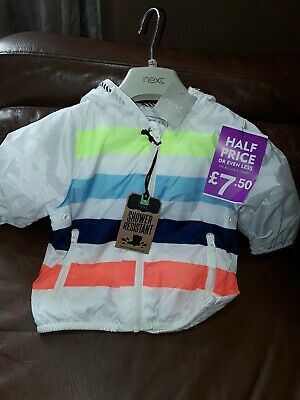 BNWT next Baby Boys White Blue & Orange Striped Cagoule Age 9-12 Months