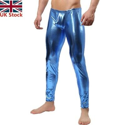 #L Mens Shiny Patent Leather Bulge Pouch Long Pants Trousers Underwear Clubwear