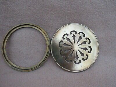 Antique Pierced Brass Clock Back To Fit An Aperture 12.2 Cm