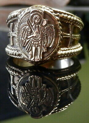Rare Antique Silver Gilt Ecclesiastical Medieval Style Ring Archangel Michael