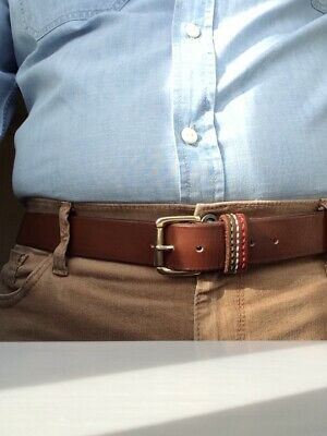 Mid Brown Bridle Leather Belt with 1.5 inch Square Buckle Brass or Nickel