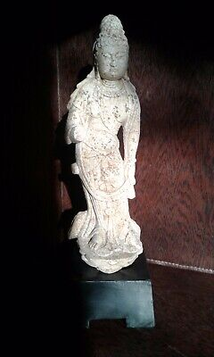 """Rare Fine Antique Chinese Tang Dynasty Marble / Stone Sculpture of KuanYin 16""""H"""