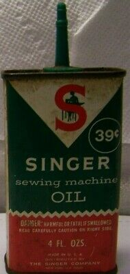 SINGER OIL CAN Tin ANTIQUE SEWING MACHINE VINTAGE 39 Cent Tin