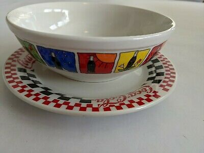 Vintage Coca-Cola Gibson Checkered Plate and Coke Bottle Bowl 1997 and 1999