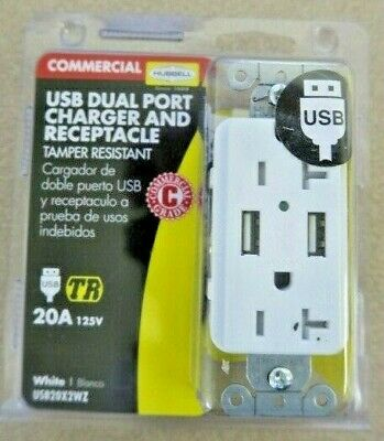 Hubble Commercial Usb Dual Port Charger & Receptacle (White) 20A 125V-#USB20X2WZ