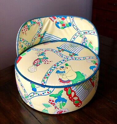 Vintage Toddler Child Booster Seat High Chair Vinyl Animals Circus