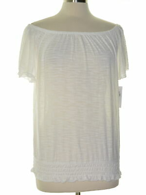 Style & Co. 2631 Size Medium M Womens NEW White Pullover Top Smocked-Hem