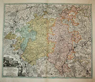 1720 Luxemburg Luxembourg carte map Karte Homann copper engraving Kupferstich