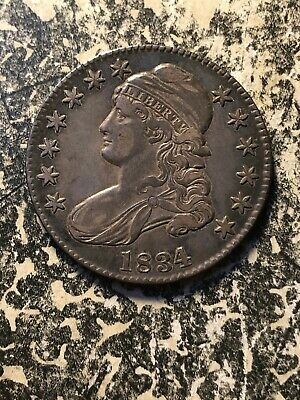 1834 U.S. Capped Bust Half Dollar Lot#DW08 Silver! Nice Circulated Example!