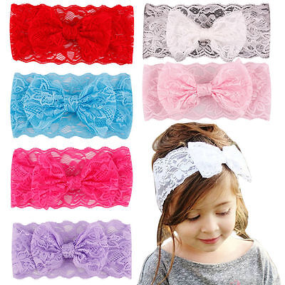 Baby Girls Lace Bowknot Headband Elastic Hairband Toddler Kids Turban Headwrap