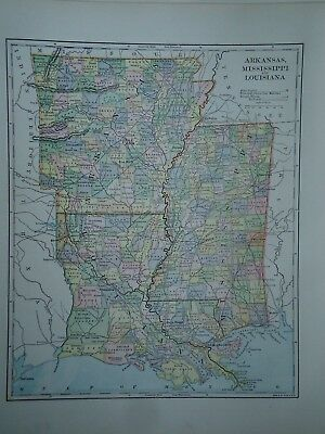 Vintage 1896 LOUISIANA MISSISSIPPI MAP Old Authentic Antique Atlas Map 96/70318