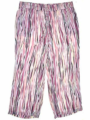 JM Collection 7762 Plus Size 1X Multi Pink Striped Straight-Leg Pants $59