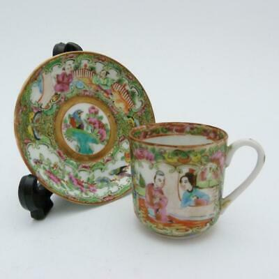 Chinese Canton Famille Rose Medallion Porcelain Cup And Saucer, 19Th Century