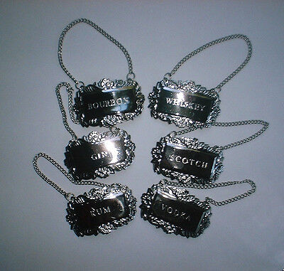 6 Silver Fancy Floral Liquor Bottle Decanter Tags Labels Set Gift Boxed