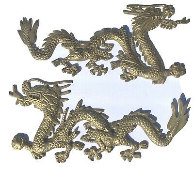 Vintage Solid Brass Asian Dragon Wall Hanging Plaque Set Of Two