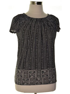 Style & Co. 0477 Size Small S Womens NEW Black Printed Pullover Top Pleated-Neck