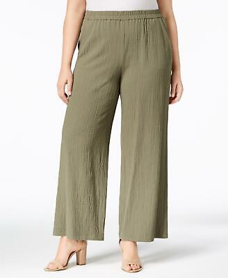 JM Collection 5027 Plus Size 3X NEW Green Textured Wide Leg Pants 2 Pockets $59