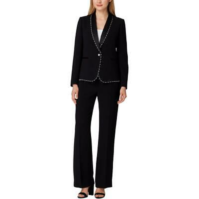 Tahari ASL Womens Black Embellished Office One-Button Suit 6 BHFO 9755