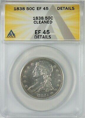 1838 50c Capped Bust Silver Half Dollar ANACS EF45 Details