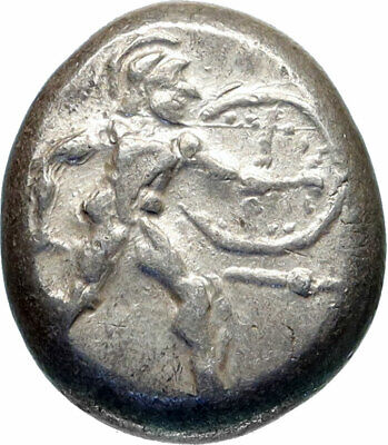 ASPENDOS PAMPHYLIA Ancient 450BC Silver Greek Coin HOPLITE TRISKELES i83003