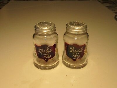 Antique EAPG Ruby Stain 1929 MIKE & BUCK Marked Salt & Pepper Shakers