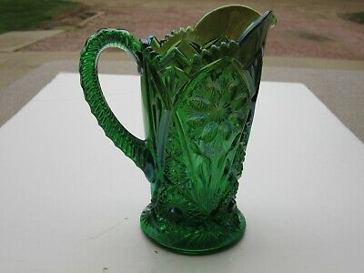 Antique Imperial Co. Green 474 Carnival Glass Milk Pitcher With Blue Iridescence