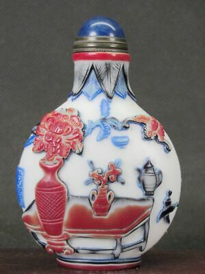 "Eximious Chinese ""Bo Gu"" Carved Peking Five Overlay Glass Snuff Bottle"