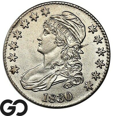 1830 Capped Bust Half Dollar, Choice AU Early Silver ** Free Shipping!
