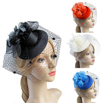 Wedding Bridal Costume Party Fascinator Veil Net Hat with Feathers Headpiece UK