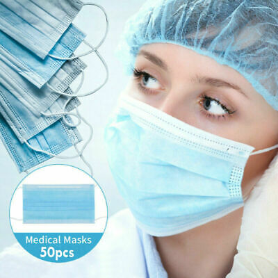 50X Disposable Face Mask Virus Flu Surgical Dental Industrial 3-Ply Ear Loop US