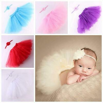 Matching Newborn Infant Tutu Skirt Hairband Baby Headband Photography Prop