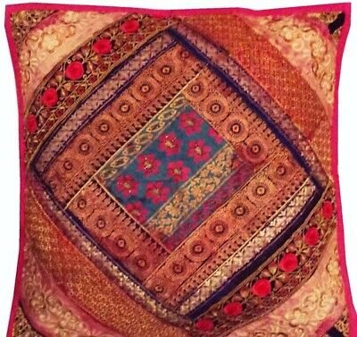 "24"" Pink Ethnic Décor Huge Sari Beads Moti Throw Floor Bed Cushion Pillow Cover"