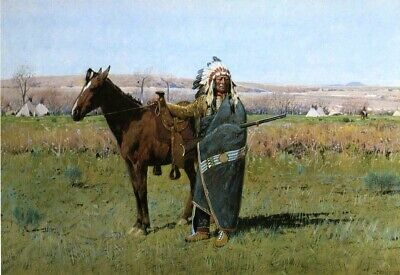 Chief Spotted Tail by Henry Farny Teepee Horses Native American Indians 9x18 👀