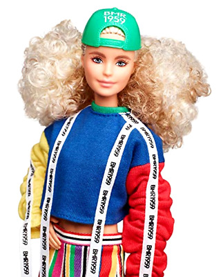Barbie BMR1959 Fashion Doll with Curly Blonde Hair, in Color Block Sweatshirt w