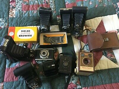 Collection Of 5 Vintage Folding Cameras & 4 Others.