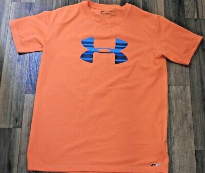 Boys Under Armour Bright Orange Short Sleeve Sports Top Size Youth Large