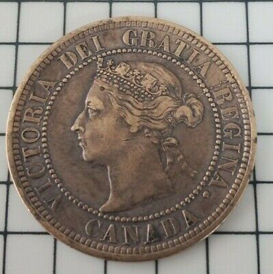 1891 CANADA 1C, Victoria Large One Cent, Scarce Early Canadian Coin