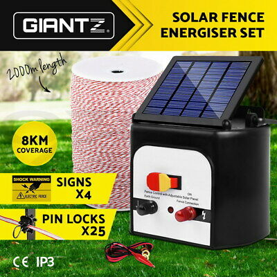 Giantz 8km Solar Electric Fence Energiser Energizer + 2KM Poly Tape Wire Fencing