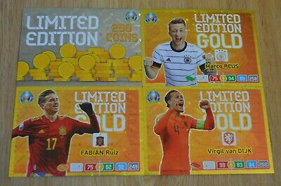 Panini Adrenalyn XL Uefa Euro EM 2020 4x Premium Gold Limited Edition Set