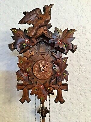 Anton Schneider Black Forest hand carved wooden cuckoo clock made in Germany