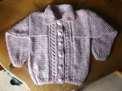 Brand New Hand Knitted Baby Girls Pink Berry Tweed Aran Cardigan With Collar