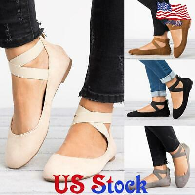 Womens Ladies Ankle Strap Ballerina Flats Ballet Pumps Loafers Comfy Shoes Sizes