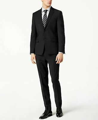 $600 Calvin Klein Men's Skinny-Fit Infinite Stretch Black Suit 38S / 32 x 30