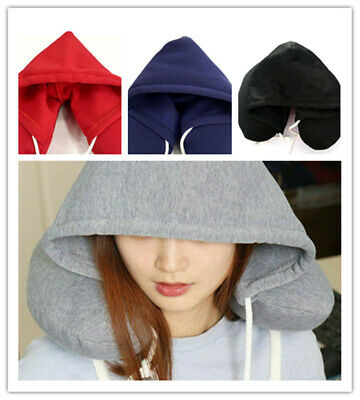Travel Hooded Pillow U-Shaped Cushion Car Office Airplane Head Rest Neck Support