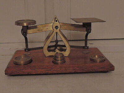 Antique English Brass Post Office Postal Letter Scales & 5 Weights