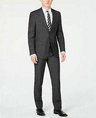 Calvin Klein Mens Slim-Fit Herringbone 2-Piece Suit & Pant Grey 38R 31W NEW $495