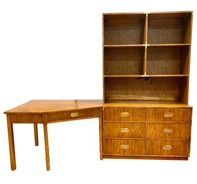 Mid century modern campaign style dresser, desk and bookshelves three piece set
