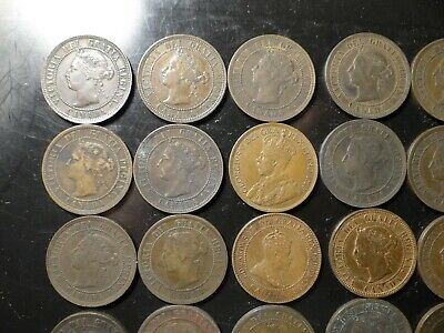 1859-1900  VF XF Thirty Canada Victoria and Edward Large Cent Coppers D2X